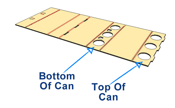 - Begin by placing the bottom of cans into 'Bottom of Can' panel.