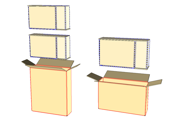 - 7. For 8 packs, repeat previous steps and stack two layers into box. For 4 packs, insert one layer into box.