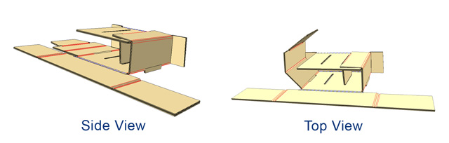 - Fold each side flap through front and back slots. Flaps should stick out through back slots.