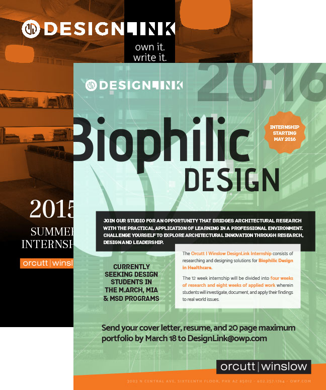 Posters for both the 2015 and 2016 DesignLink research internship