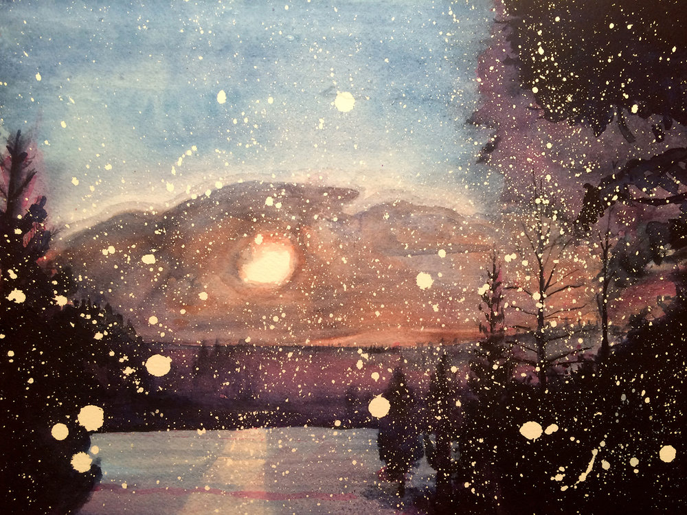 "Snow at Dusk, 9x12"", watercolor on paper,  SOLD"