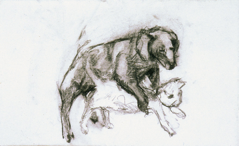 "Doggy Style  Selected drawing from Private Mail Pencil on 1 3/4"" x 2 3/4"" envelope"