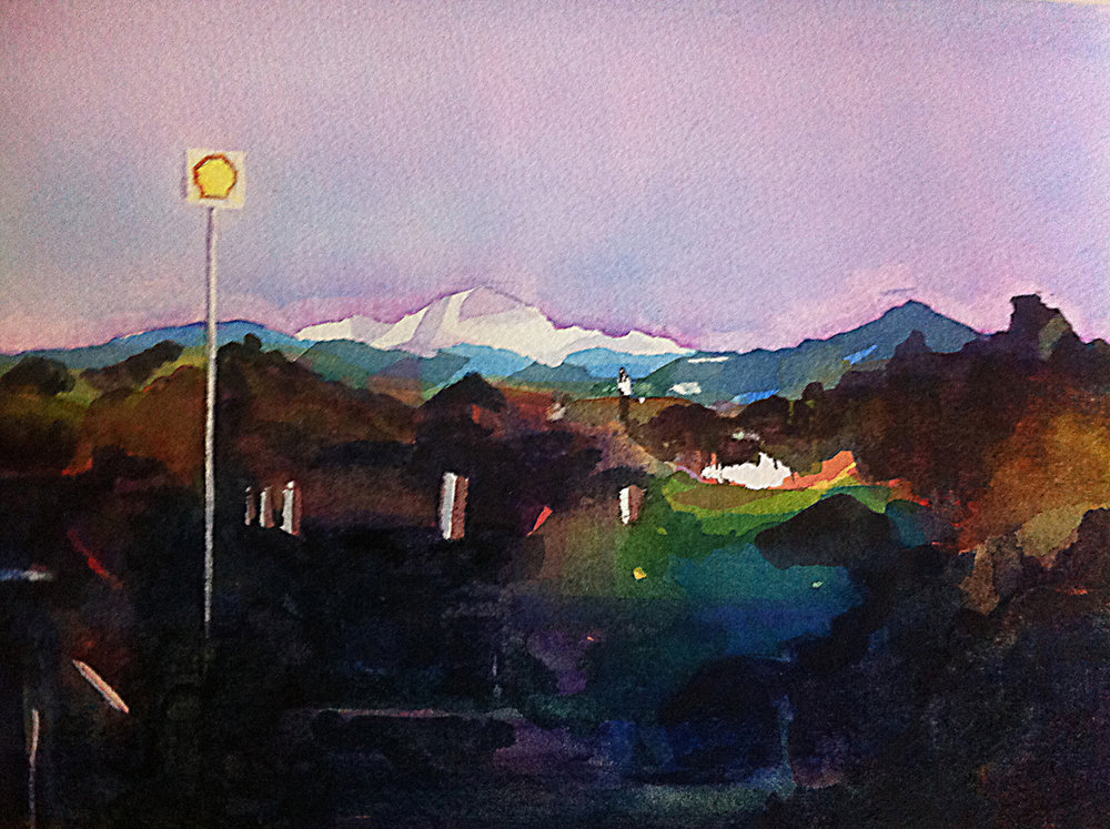 "Mount Shasta, 7.5""x10"", watercolor on paper, property of Whiskeytown National Recreational Area, California"