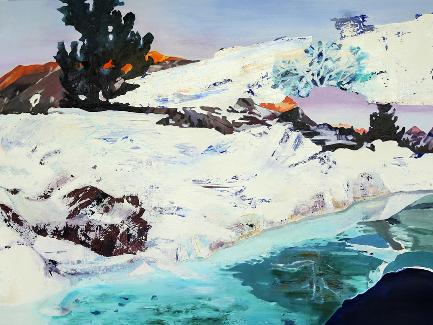 "PCT: Sierra Snow Bridge, 36""x48"", oil on panel. To purchase this piece visit Adelman Fine Art at https://adelmanfineart.com/artist/annie-varnot"
