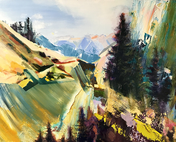 "Pacific Crest Trail: Washington; Gifford Pinchot National Forest and Me, 24x30"", oil on panel, 2019 SOLD"