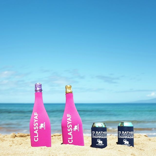 HEY! our coolies now come in 4-packs 😘❄️🍾🍻🏖☀️#idratherbedrinkingchampagne #classyaf