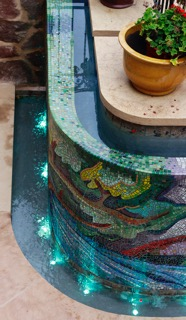 Mosaicked fountain by Ann Wydeven