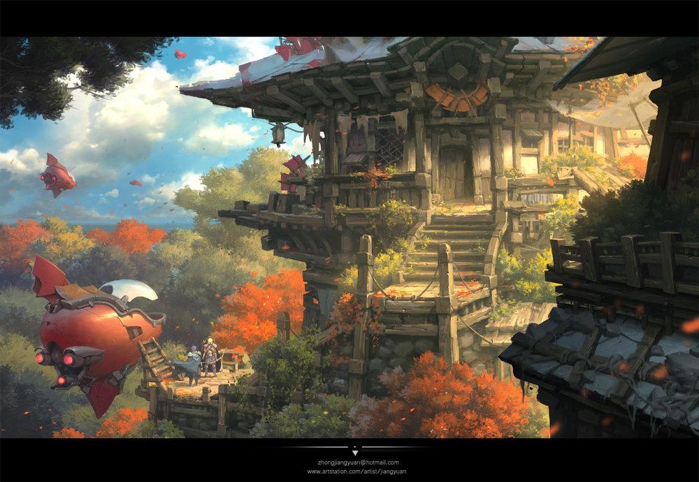 The Tree House  by Blackie Chung  https://www.artstation.com/artwork/l4A2V
