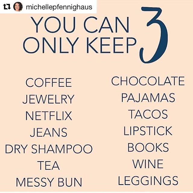 I thought this was fun...what are your 3?? Imma 🍵 👖 📚 kinda girl.