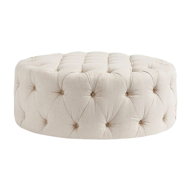 BOURGES TUFTED OTTOMAN • BEIGE $389