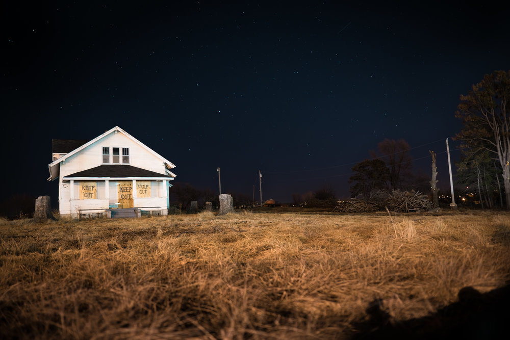 Abandoned house long exposure Omaha Nebraska