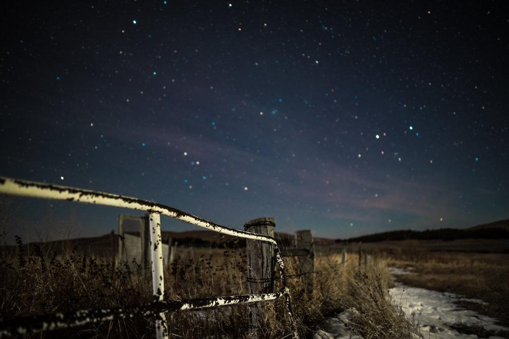 Night photography snow and stars in nebraska