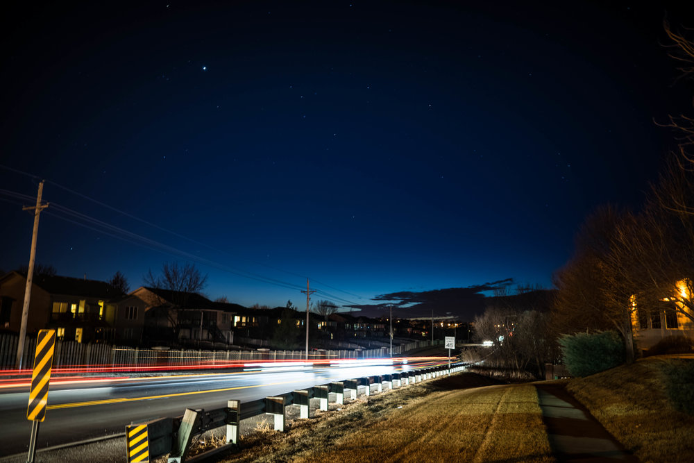 Night long exposure car trail lights in nebraska