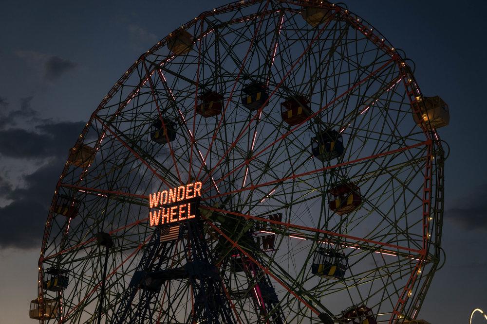coney island wonder wheel sunset