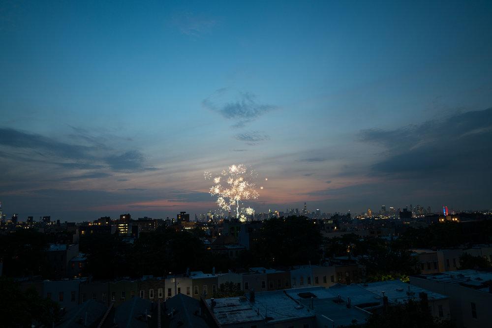 July 4th sunset fireworks in brooklyn - robert ravenscroft new york & austin photographer