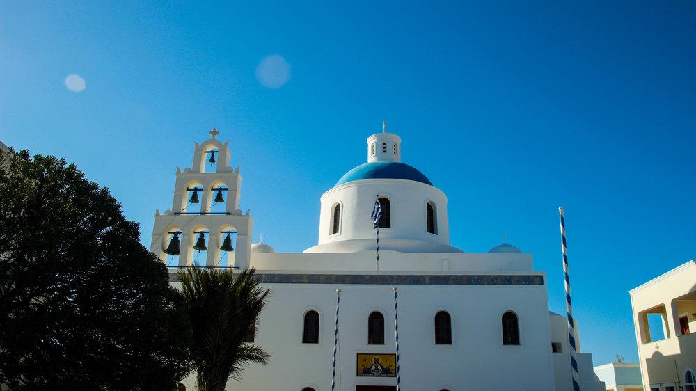 blue roof in santorini greece