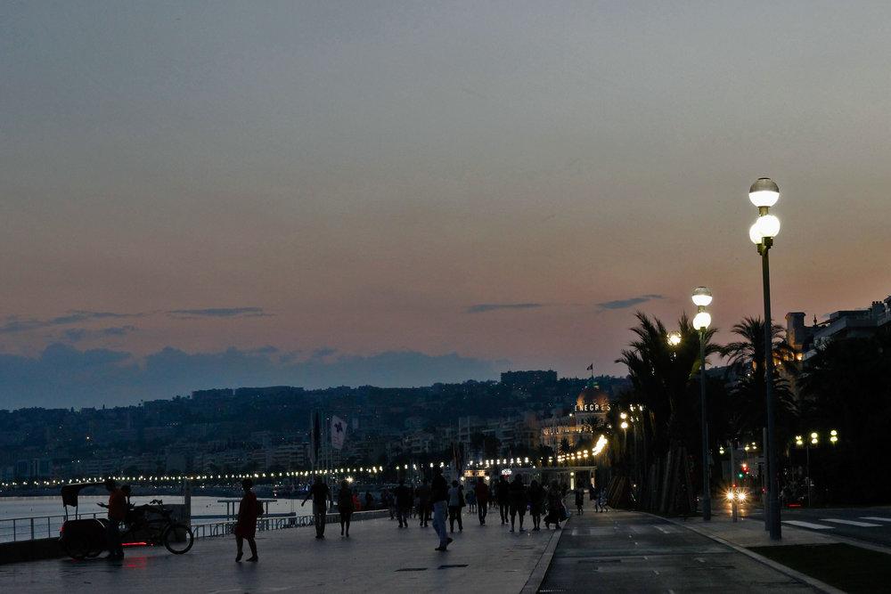 sunset nice france boardwalk