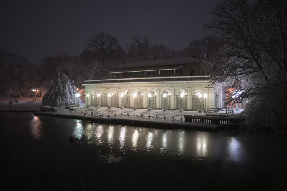 prospect park snowy night boat house photograph by robert ravenscroft nyc and austin photographer