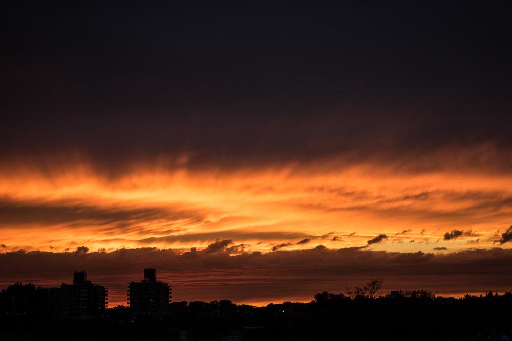 fire sunset in brooklyn - robert ravenscroft new york photographer