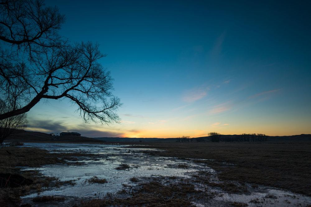 nebraska farm winter sunrise