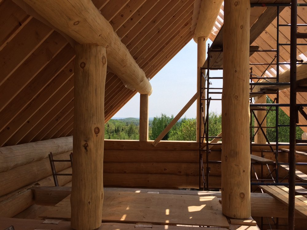 Log Cabin Purlin and Ridge beam. - Near North Log Homes