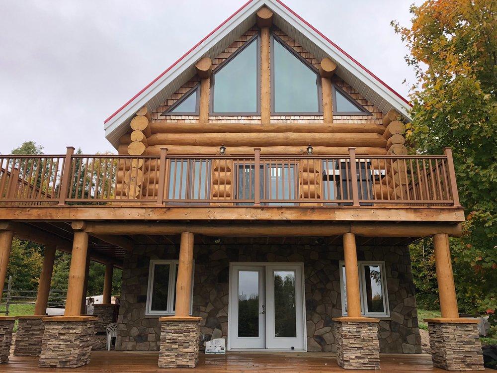 log home stone pillars