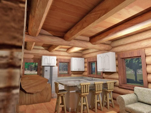 Log-Home-Made-In-Ontario-Canada-The-Riverside-Cabin-Log-Homes-Interior-Facing-Kitchen-Area-In-Front-Of-Living-Room.jpg