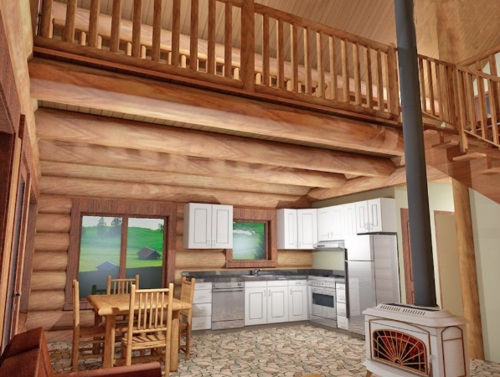 Log-Home-Made-In-Ontario-Canada-2-storey Design-Interior-Facing-Kitchen-Dining-Area-Living-Room-With-Wood-Stove-High-Ceilings-Loft-The-Treasure-Cabin.jpg