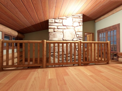 Log-Home-Made-In-Ontario-Canada-2-storey Design-Facing-Interior- Stone-Chimney-From-2nd-Floor-Catwalk-With-Wooden-Railing-The-Amarok-Cabin.jpg