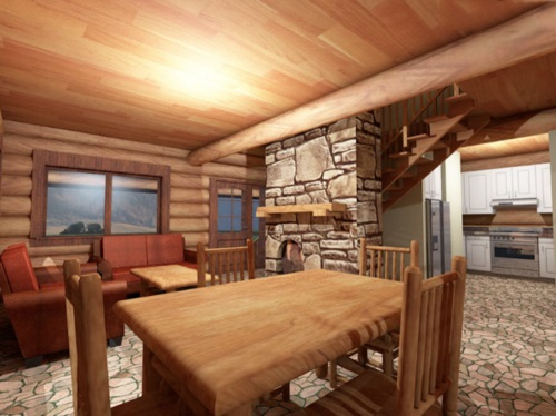 Log-Home-Made-In-Ontario-Canada-2-storey Design-Facing-Interior-Dining-Area-Living-Room-With-Stone-Fireplace-The-Amarok-Cabin.jpg