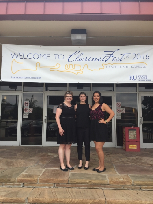 Laura, Meghan, and Alejandra at ClarinetFest in Lawrence, Kansas