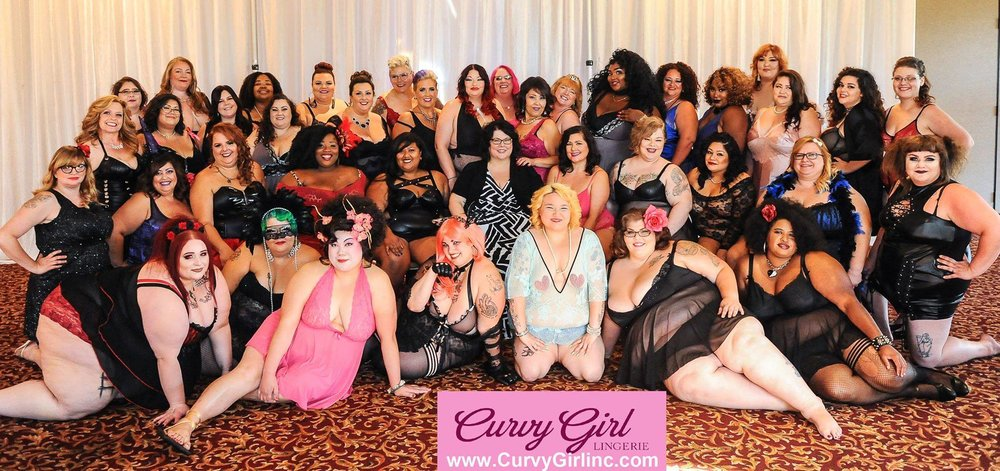 The official  Unapologetically Curvy Girl Annual Fashion Show group photo. Shop the look at curvygirlinc.com. Photos are owned by Curvy Girl Inc.