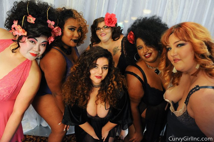 Six of the models who walked the runway Sunday, Sept. 18th. Left from right  Davina Charlotte , Jhanelle Rivera (myself), Rosie Reigns , Stephenie Torres, Dahlia Kash and Laurel Dickman. Shop the look at curvygirlinc.com. Photos are owned by Curvy Girl Inc.