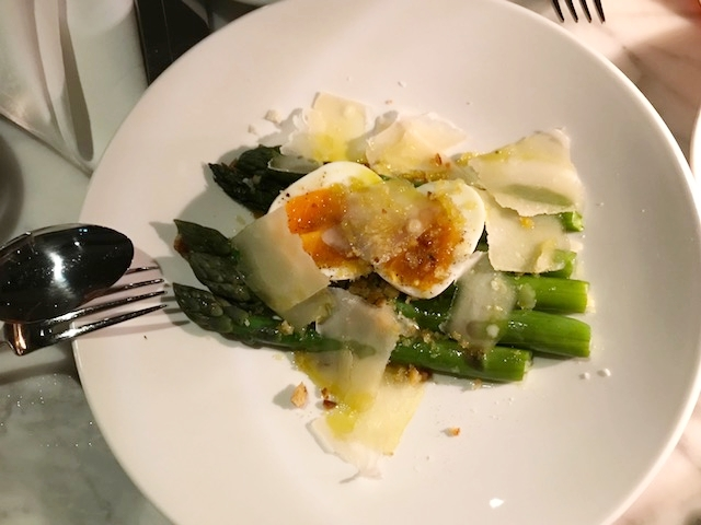 Lovely, light starter of asparagus, egg and parmesan