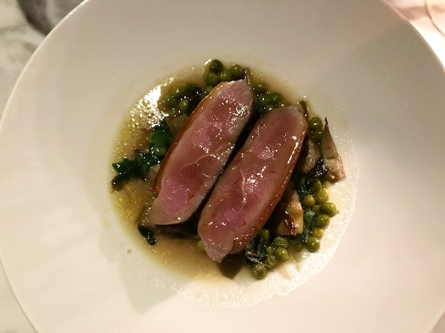 Duck breast main; light Spring dish