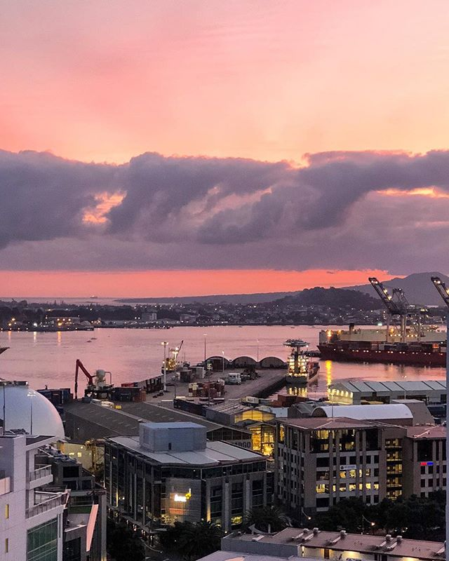 Hello weekend! #thestatesmanapartments #sunrise #harbourview #saturday #morningmotivation #beautiful #viewfromthetop #newzealand #architecture #rangitotoisland 📱@__lisa_w__