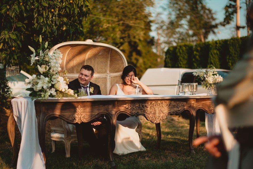 bride crying reception vancouver wedding photographer