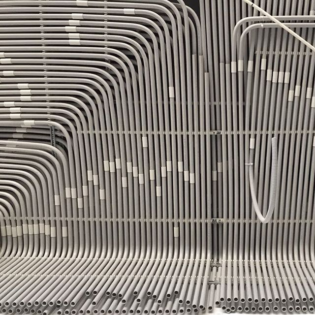 This is not a #frankstella.  On site looking up. Perfect alignment of electrical tubes. Too bad it s hidden... #precisionworks #beirutproject #mariagrouparchitects #mariagroup  #beiruthomes  #beirut  #architecturelebanon  #urbanhome