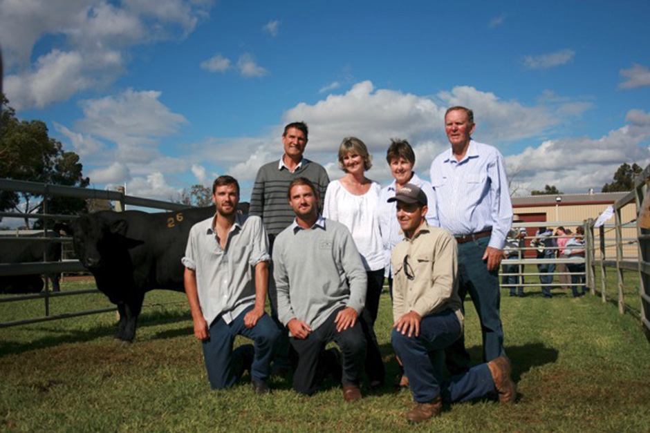 Top priced bull Koojan Hills Upshot K109 with new Koojan Hills owners Tim, Richard, Chris, Christine Metcalfe and farm manager Cody Shilling alongside Pam and Lew Smit.