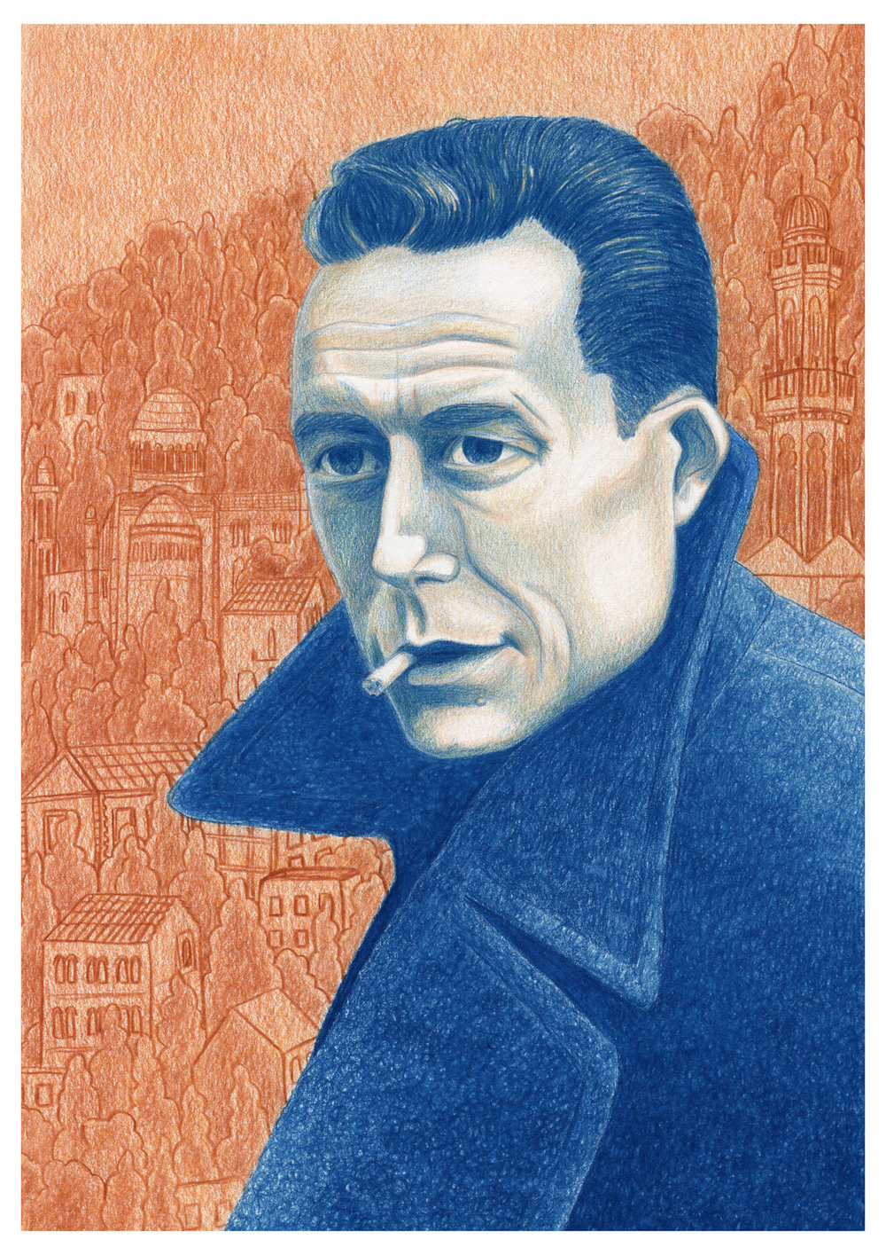 My finished illustration of Albert Camus