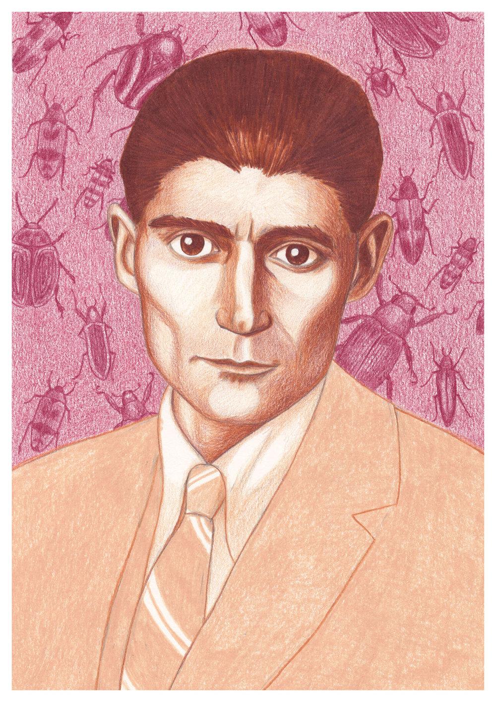 my finished illustration of Franz Kafka
