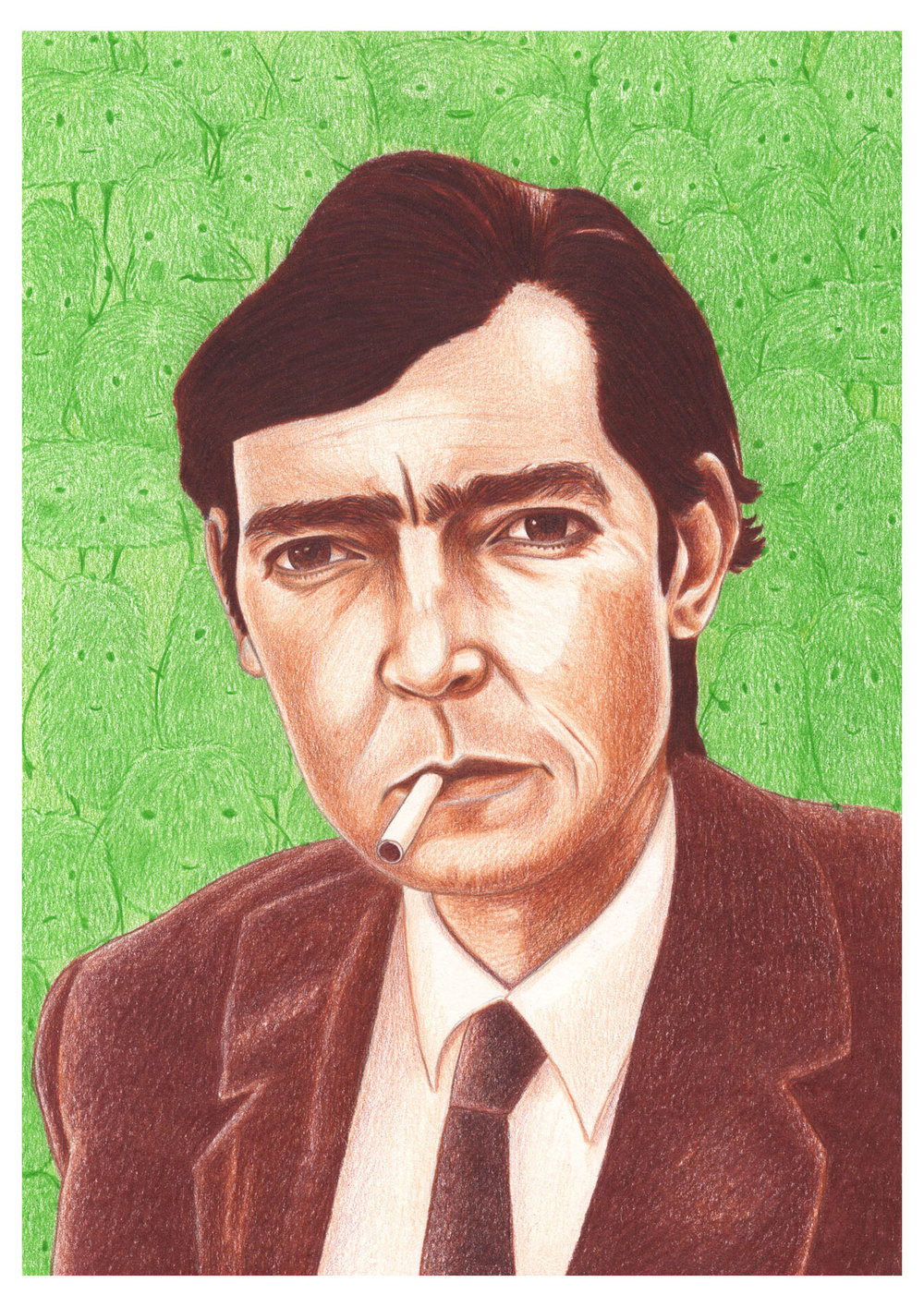And finally, my illustration of Julio Cortazar, with the little Cronopio's in the background.