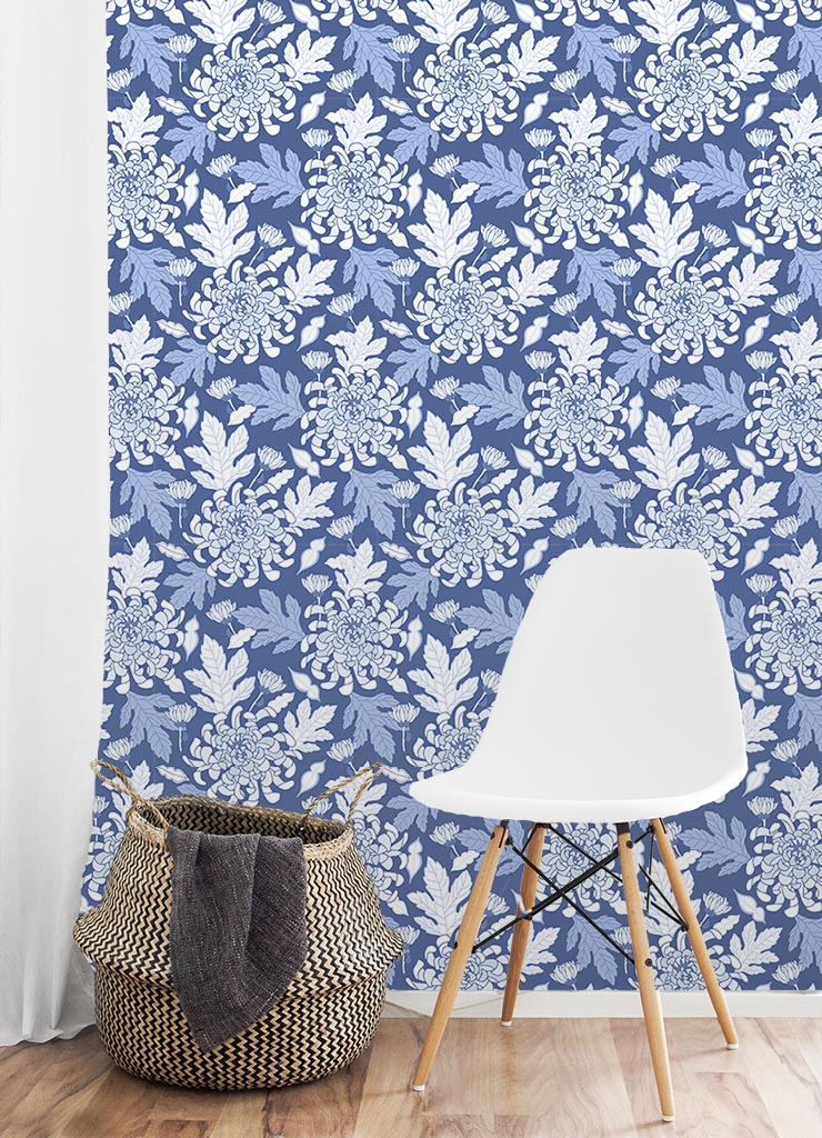 Chinoiserie floral wallpaper design by Jessie Tyree