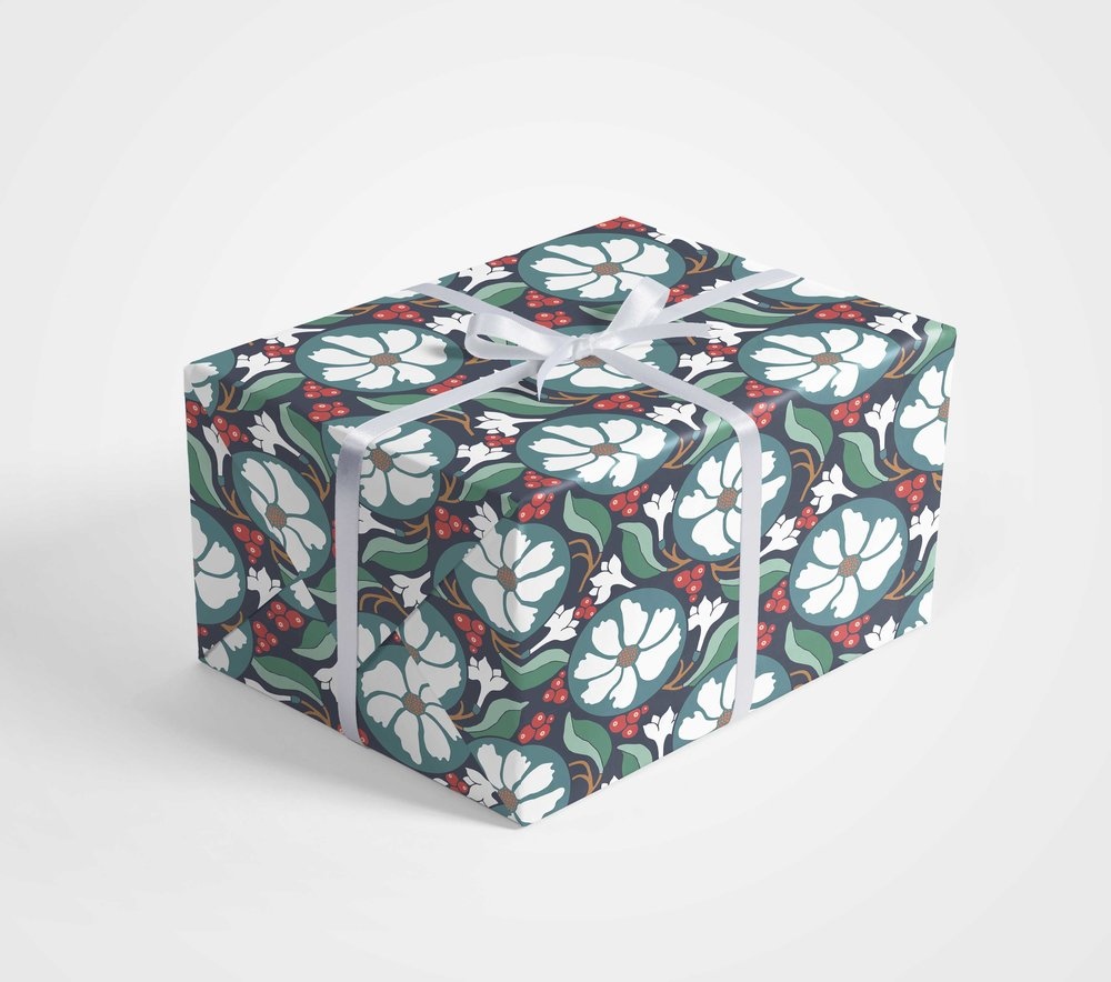 Jessie Tyree Jenness - Christmas Gift Wrap Design, Christmas Floral Illustration for Art Licensing