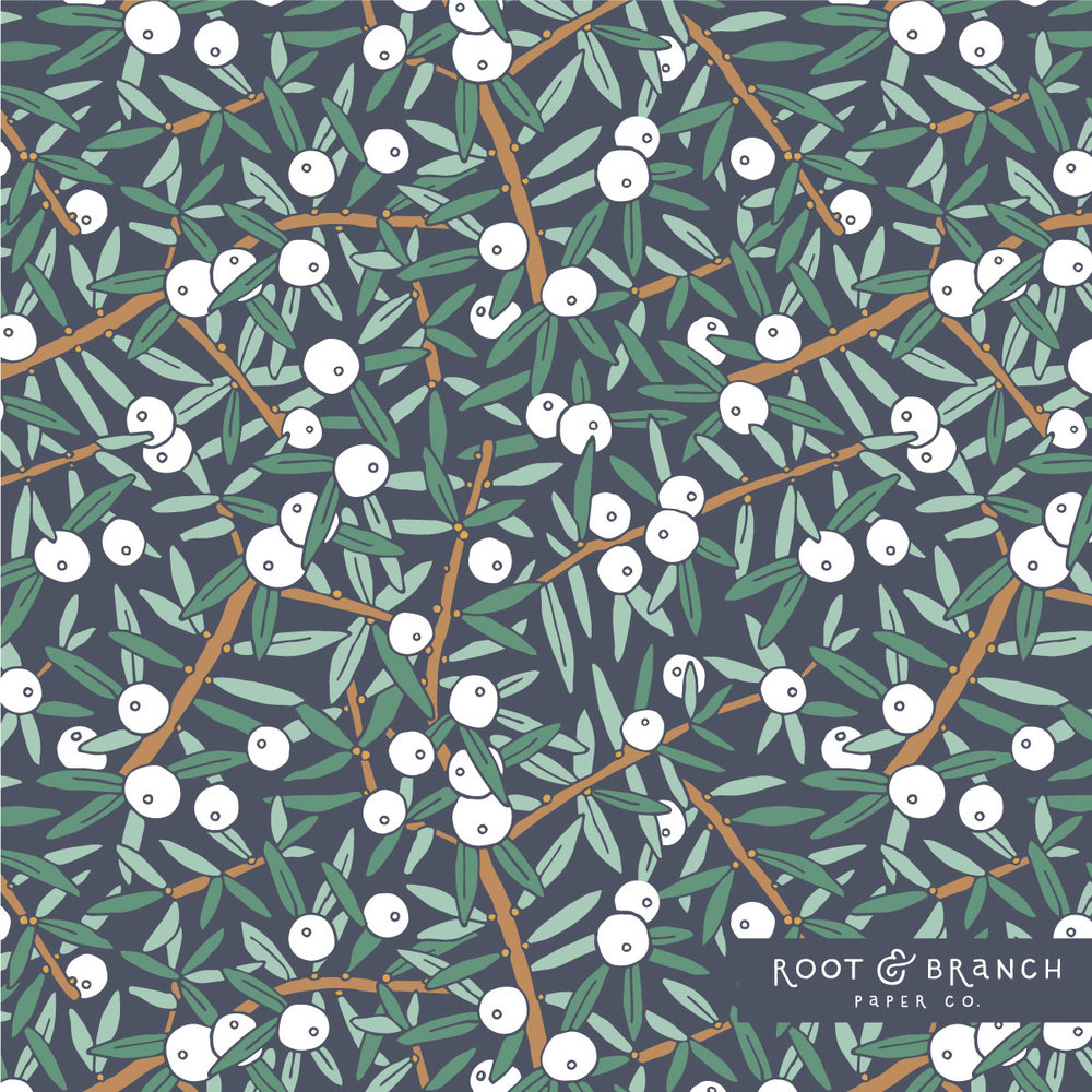 Juniper Berry: Winter Woodland Pattern Collection | Christmas Fabric Designs | Surface pattern design by Jessie Tyree Jenness