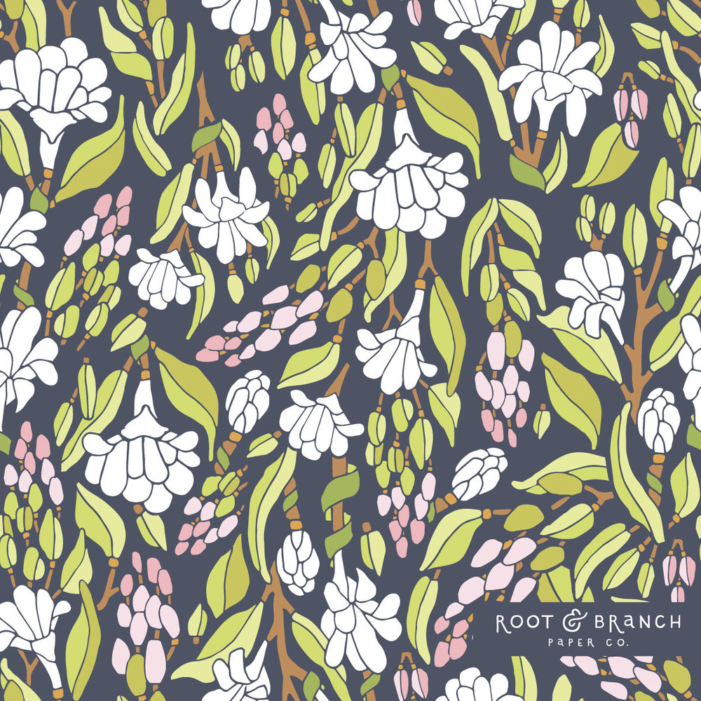 Moonlit Garden Pattern Collection by Jessie Tyree Jenness for Root & Branch Paper Co.