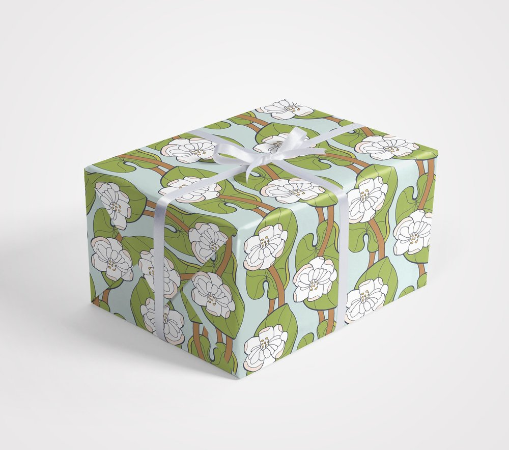 Lotus Leaf Gift Wrap by Jessie Tyree Jenness for Root & Branch Paper Co.