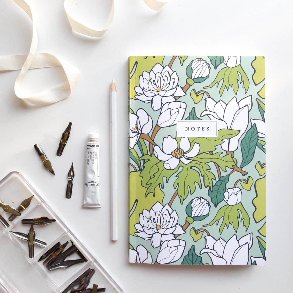 Water Lily & Lotus Notebook by Jessie Tyree Jenness for Root & Branch Paper Co.