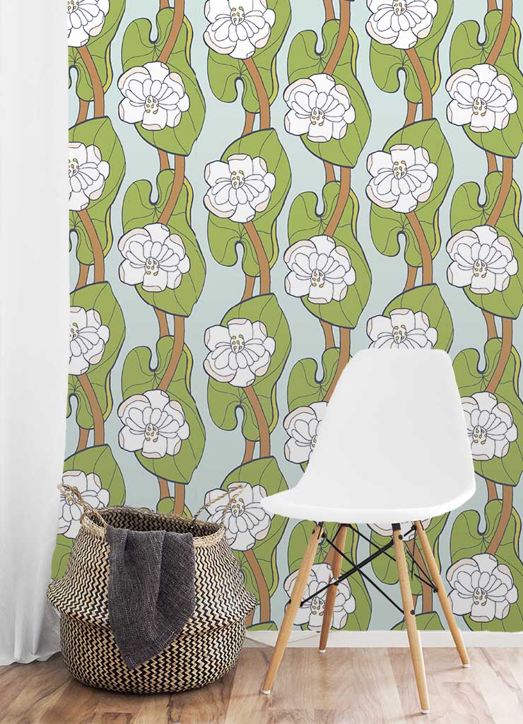 Lotus Leaf Wallpaper by Jessie Tyree Jenness for Root & Branch Paper Co.