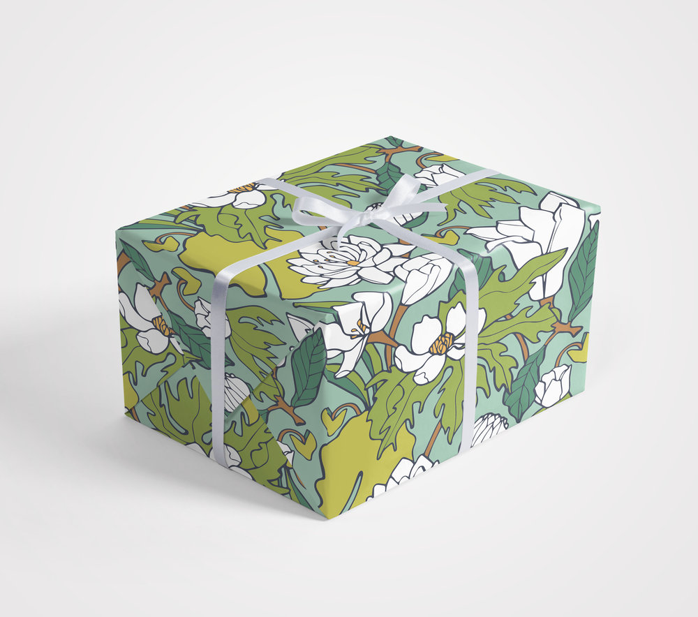 Water Lily & Lotus Gift Wrap by Jessie Tyree Jenness for Root & Branch Paper Co.